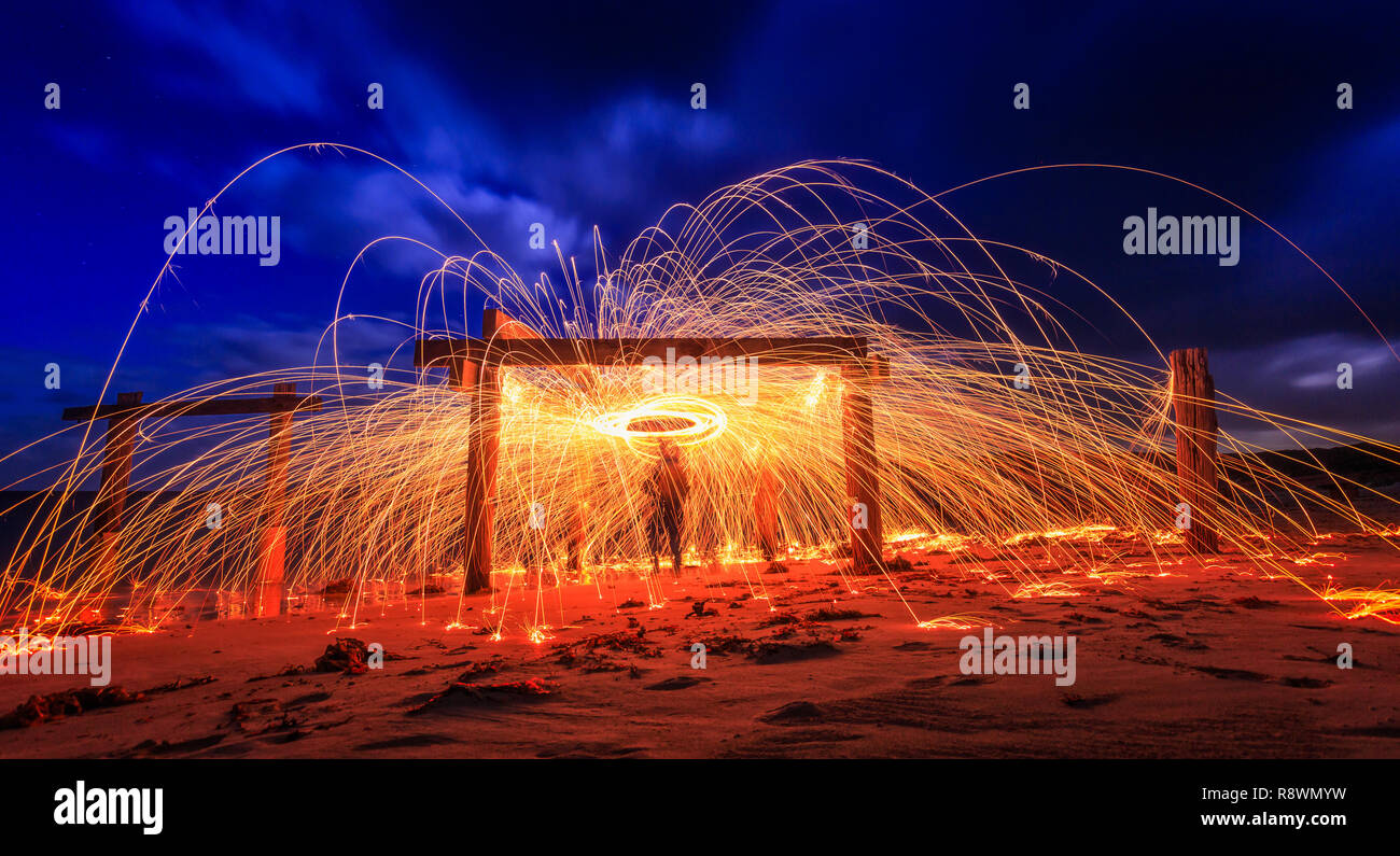 Hamelin Bay - Jetty On Fire - Stock Image
