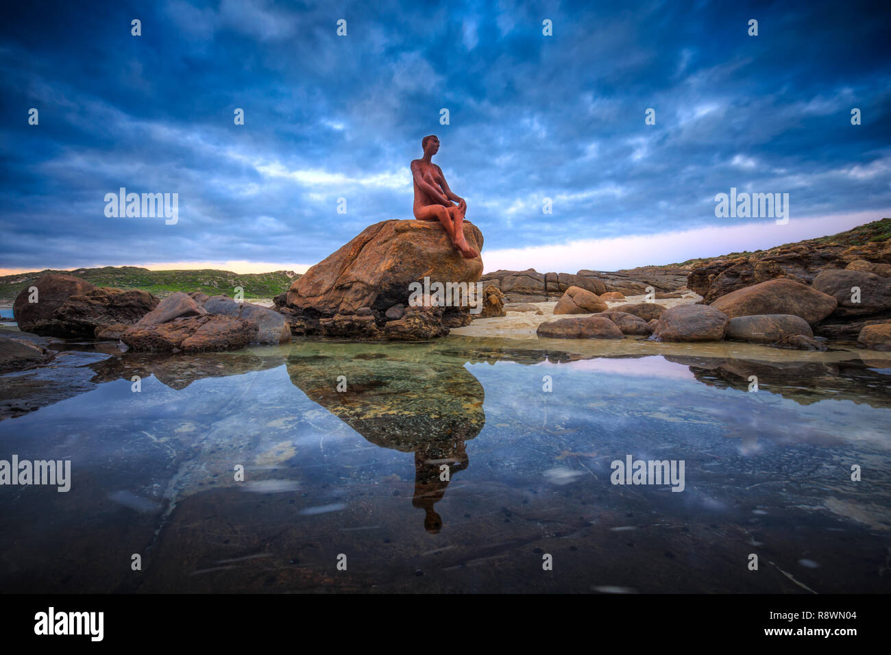 Lady with Fish - Stock Image