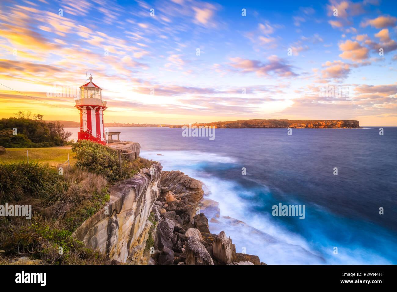 Hornby Lighthouse Sunset, Sydney Stock Photo