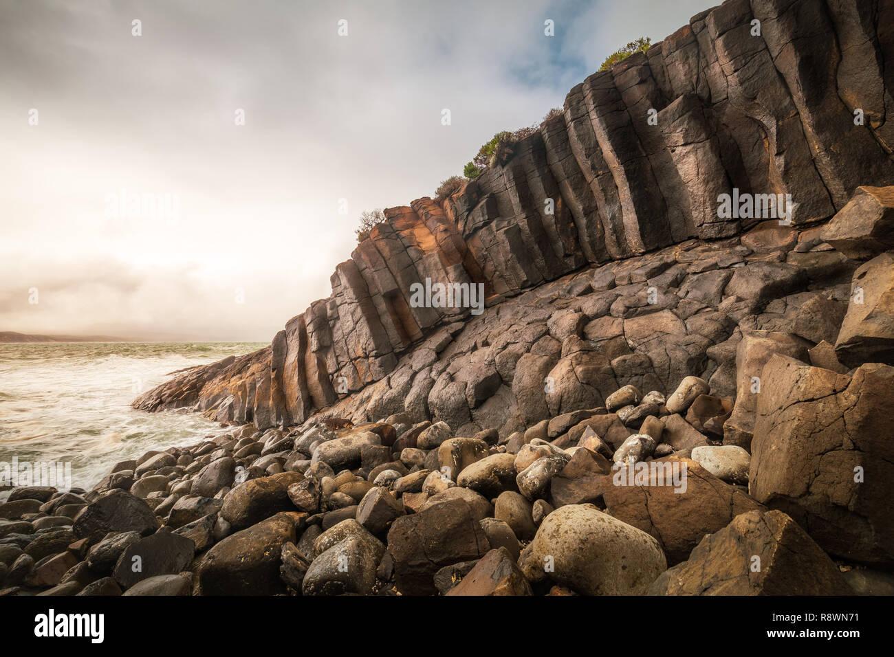 Basalt Seascape, Blackpoint, Western Australia - Stock Image