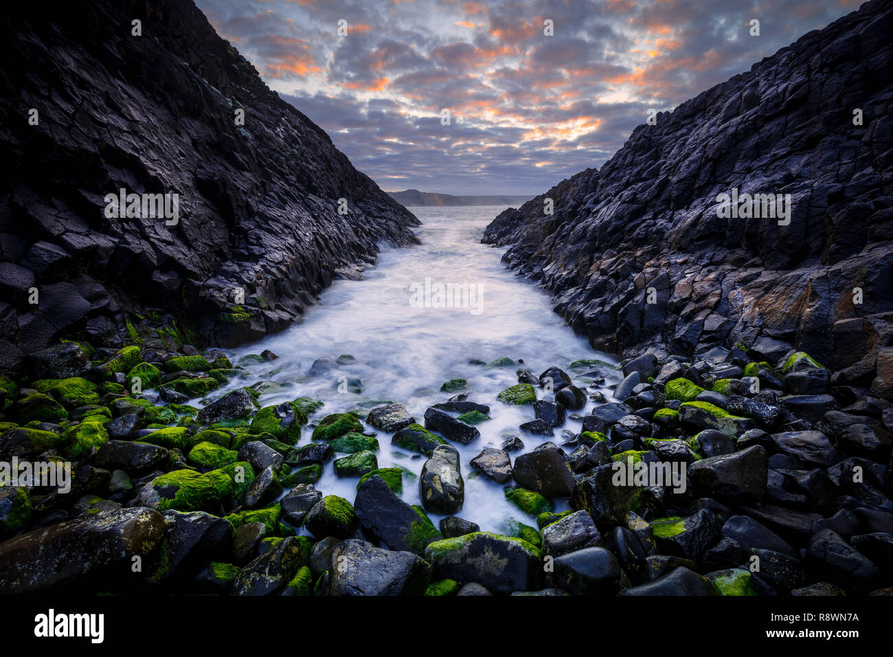Basalt Seascape, Blackpoint, Western Australia Stock Photo