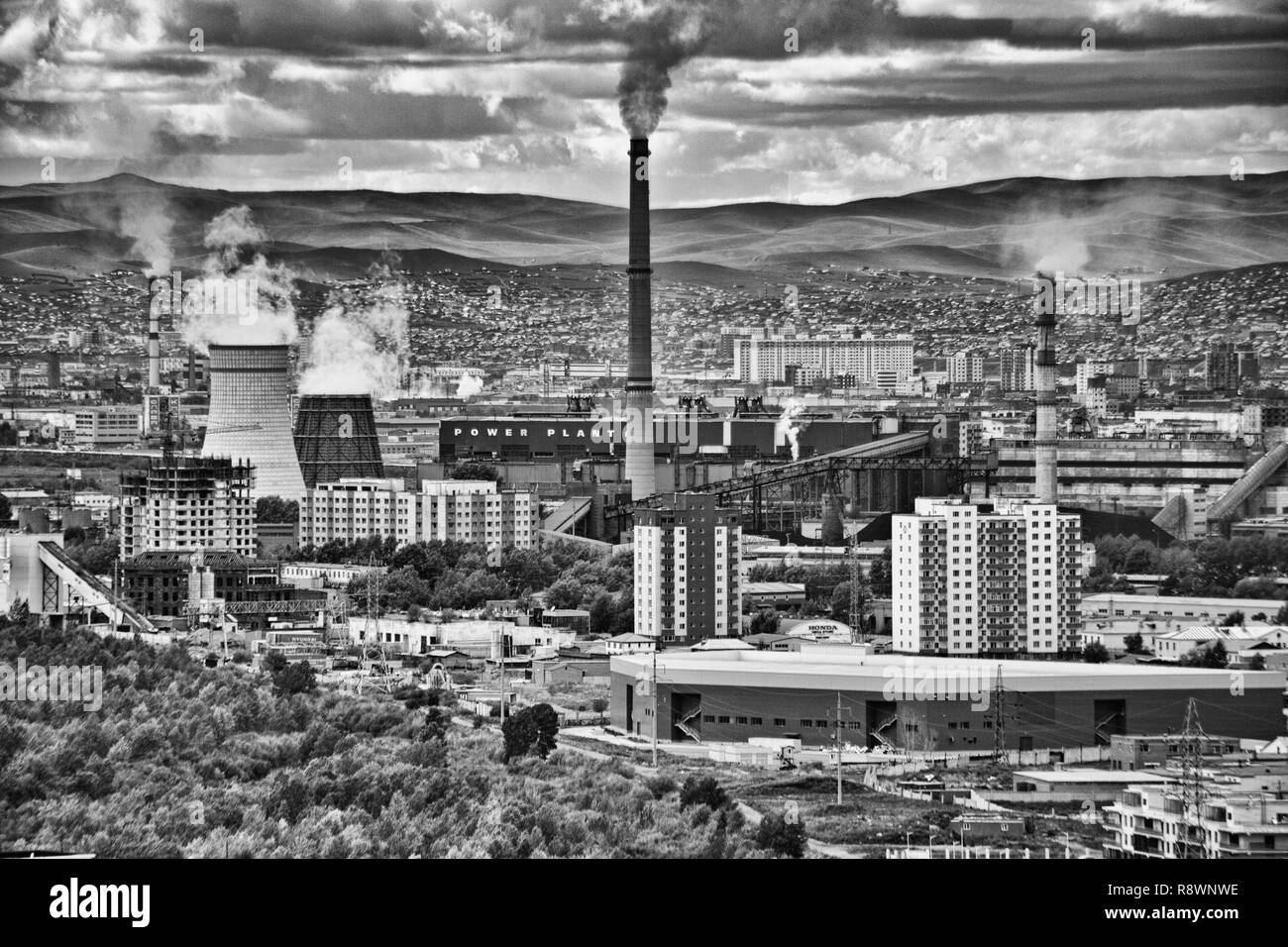 Views of  a Power Plant in Ulan Bator, Mongolia - Stock Image