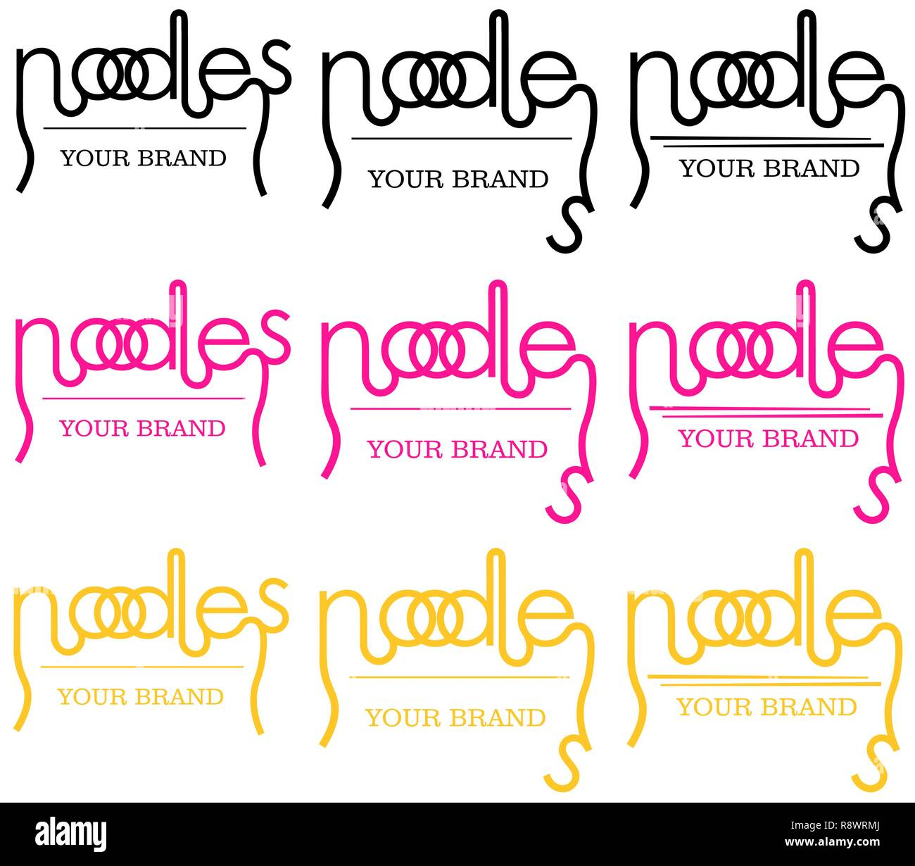 minimalistic noodle logo of the word in different versions, typography - Stock Vector