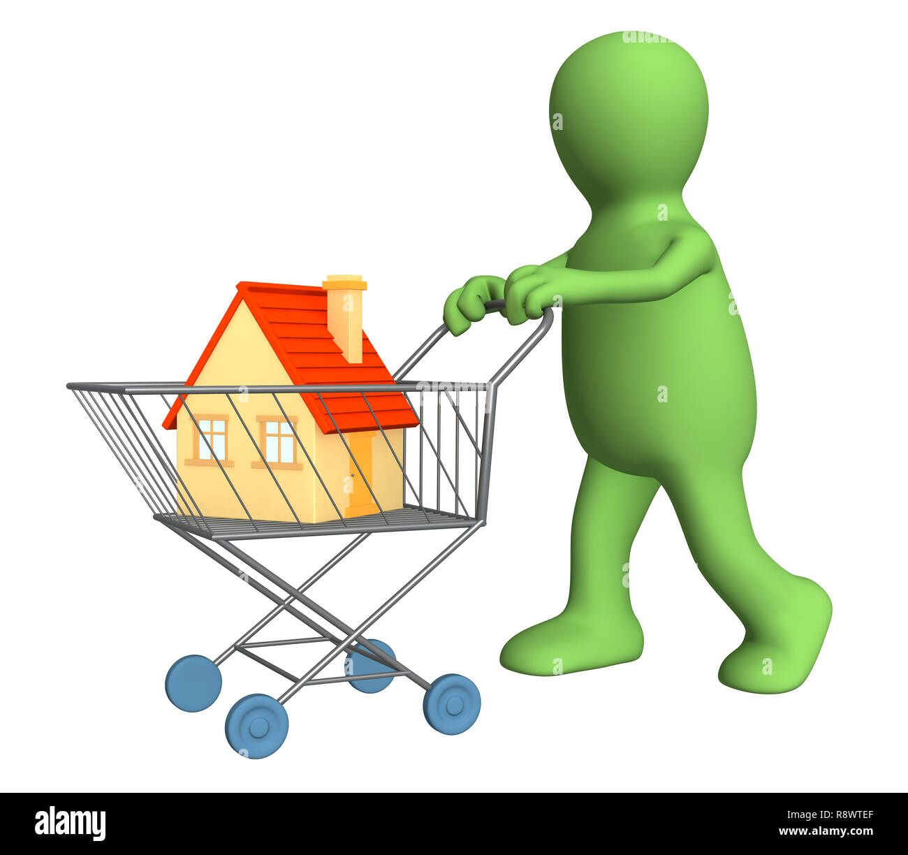 3d puppet - buyer, bought the house. Objects over white - Stock Image