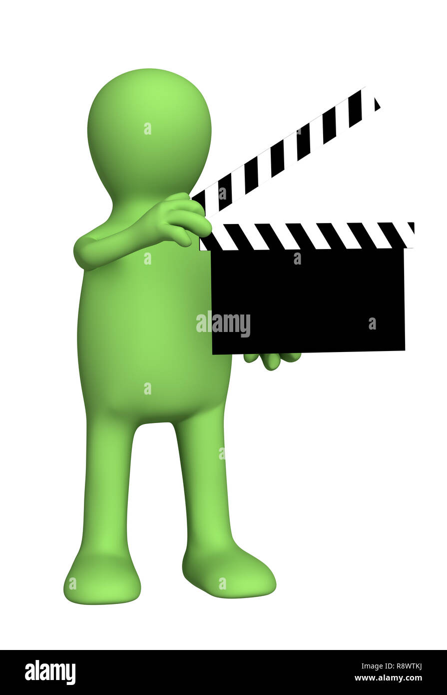 3d person puppet on shootings of film. Object over white Stock Photo