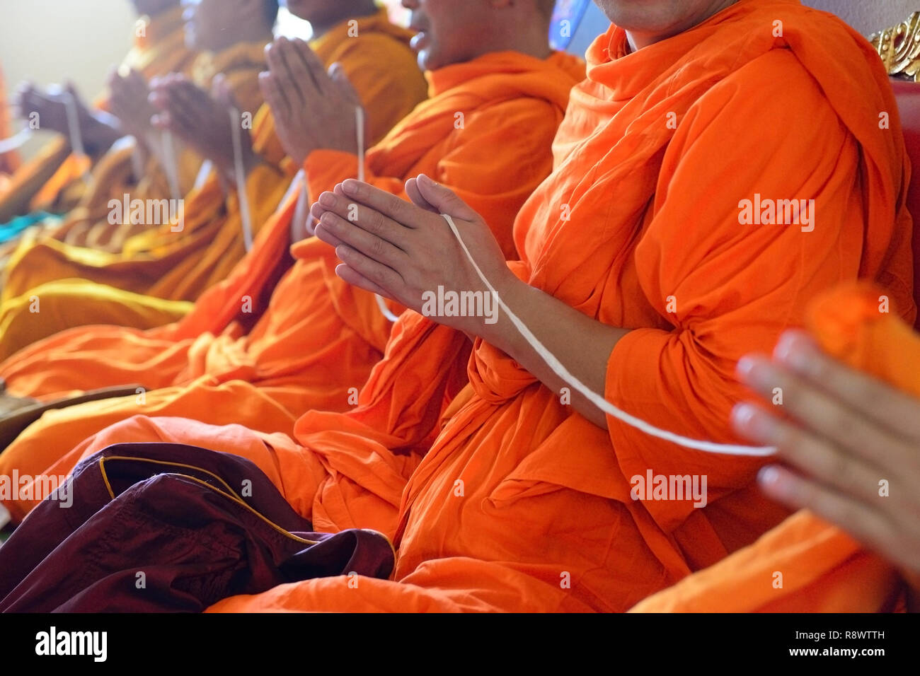 Monks of the religious rituals, Buddhist ceremony - Stock Image