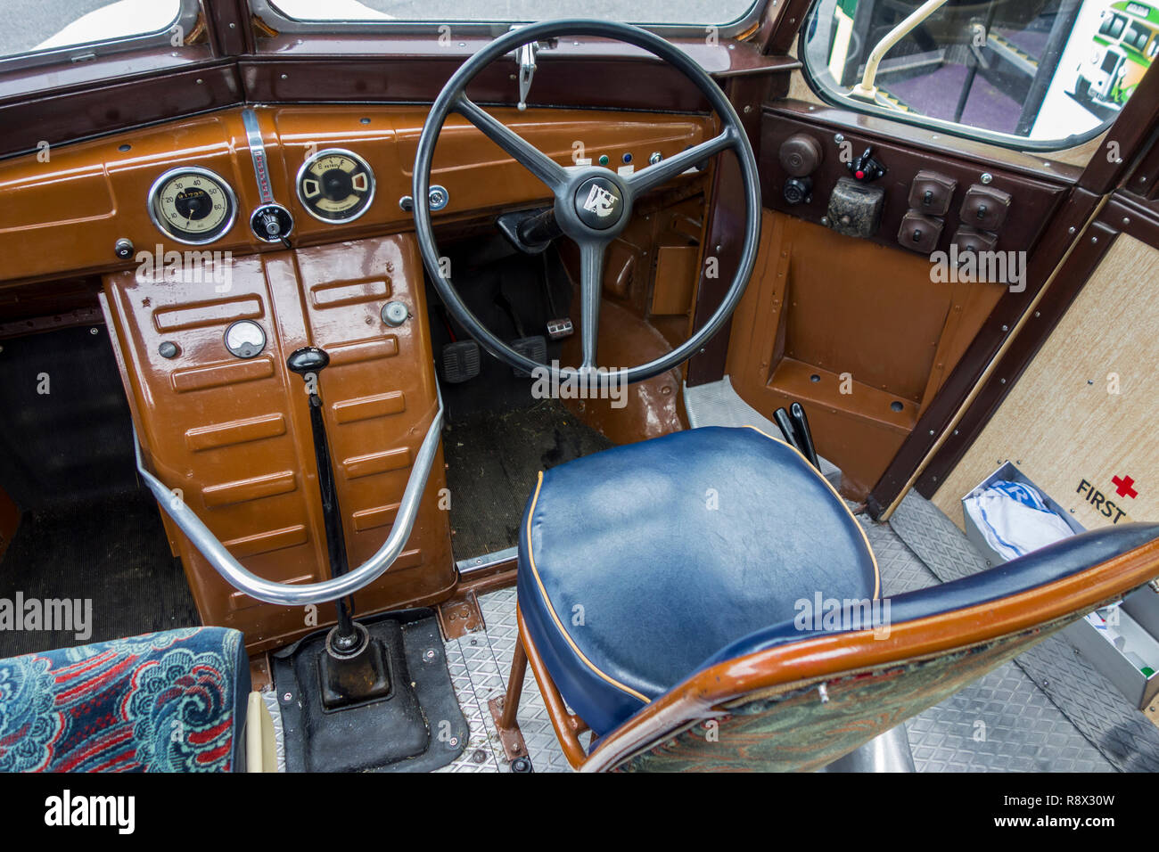 Dashboard and steering wheel of 1950 Bedford OB Duple Vista coach / bus - Stock Image