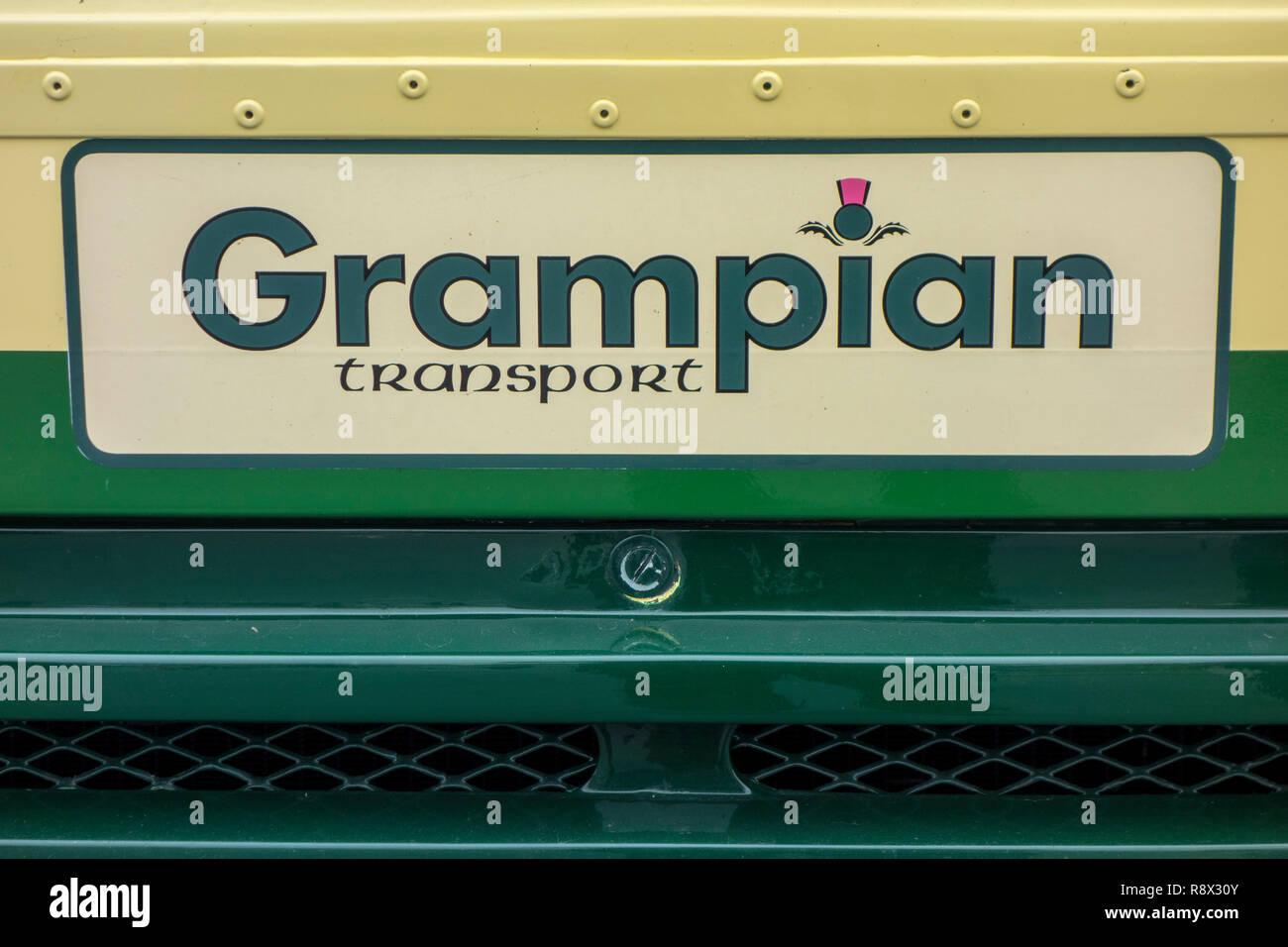 1988 Leyland Olympian double-decker bus, close-up of Grampian Transport logo - Stock Image
