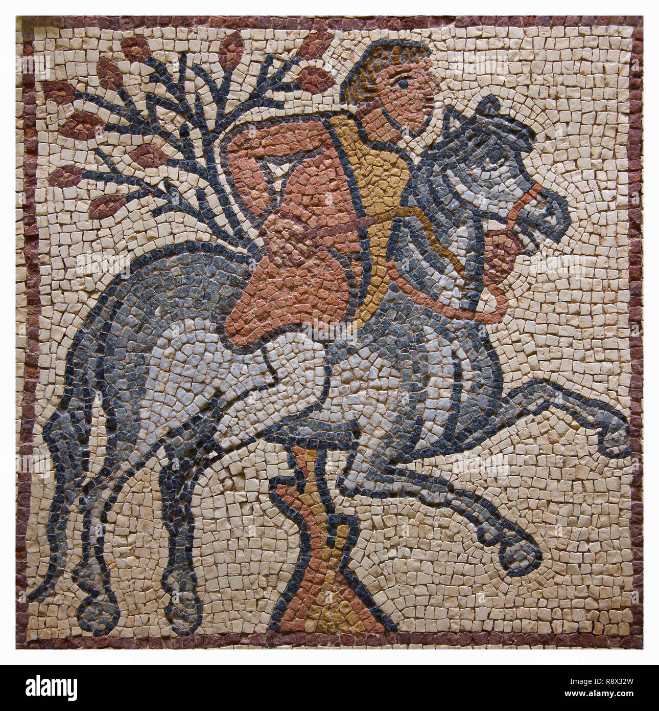 Libya Cyrenaica Qsar Ancient well preserved Byzantine mosaic depicting a horseman riding hs horse - Stock Image