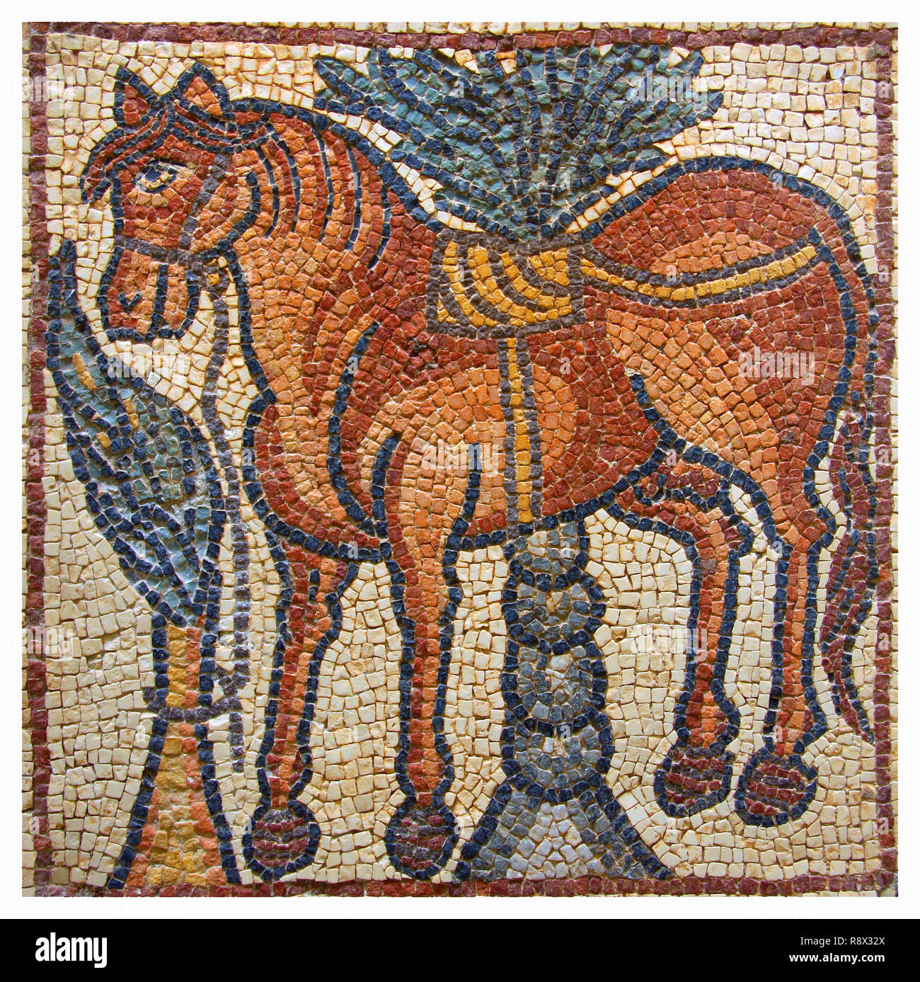 Libya Cyrenaica Qsar Ancient well preserved Byzantine mosaic depicting a horse - Stock Image