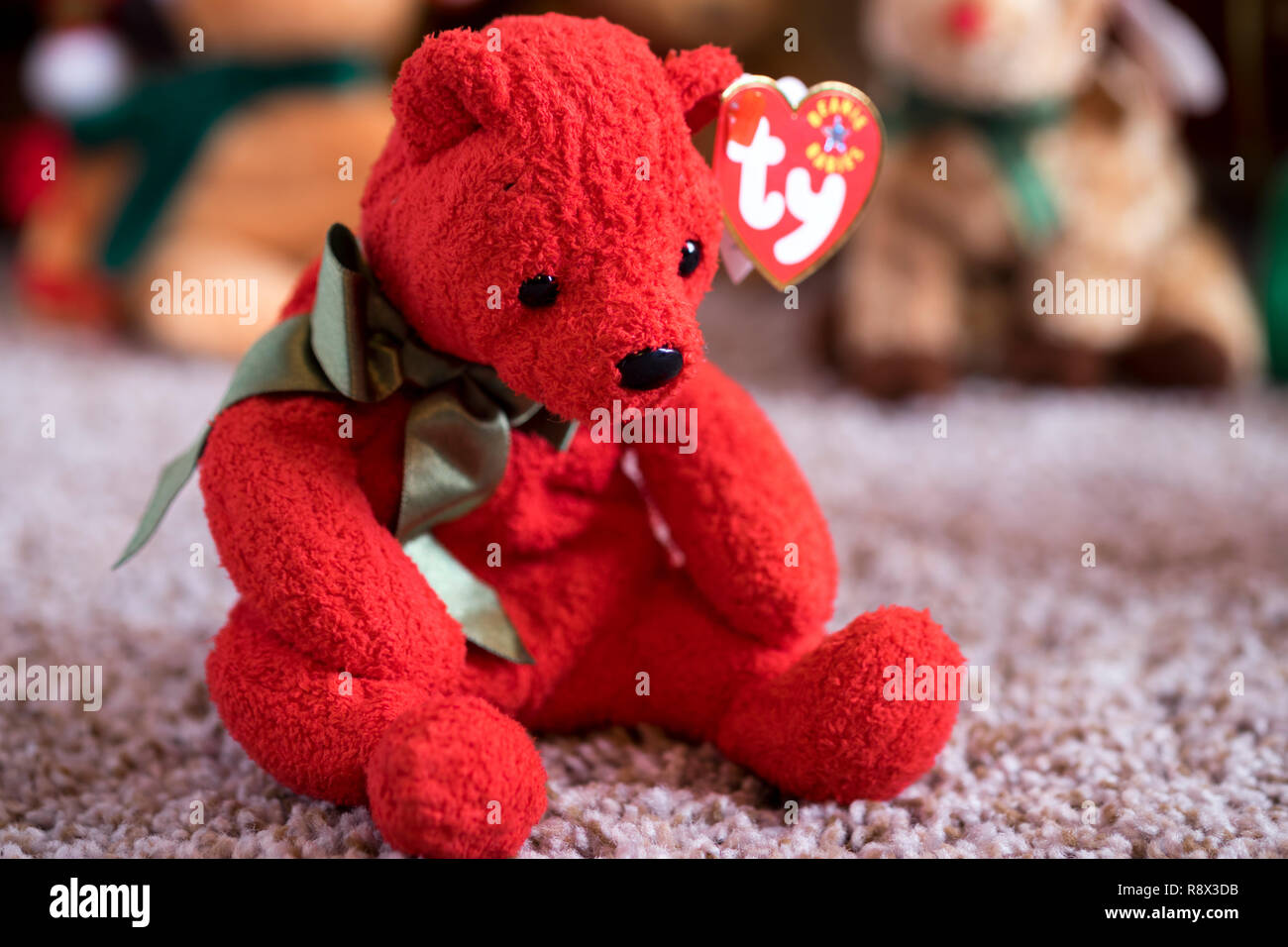 One of Ty company s holiday Beanie Babies in a family Christmas display. - 0ec87ce5fd46