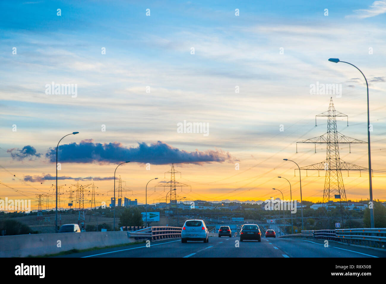 A-1 highway at dusk. Madrid, Spain. Stock Photo