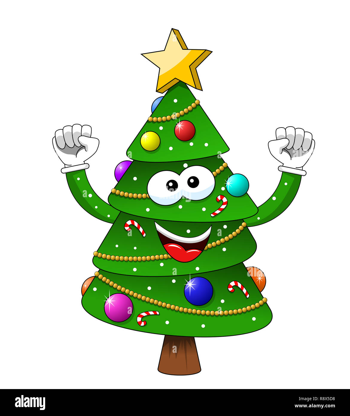 cartoon xmas christmas tree exulting happiness isolated stock photo alamy https www alamy com cartoon xmas christmas tree exulting happiness isolated image229227076 html