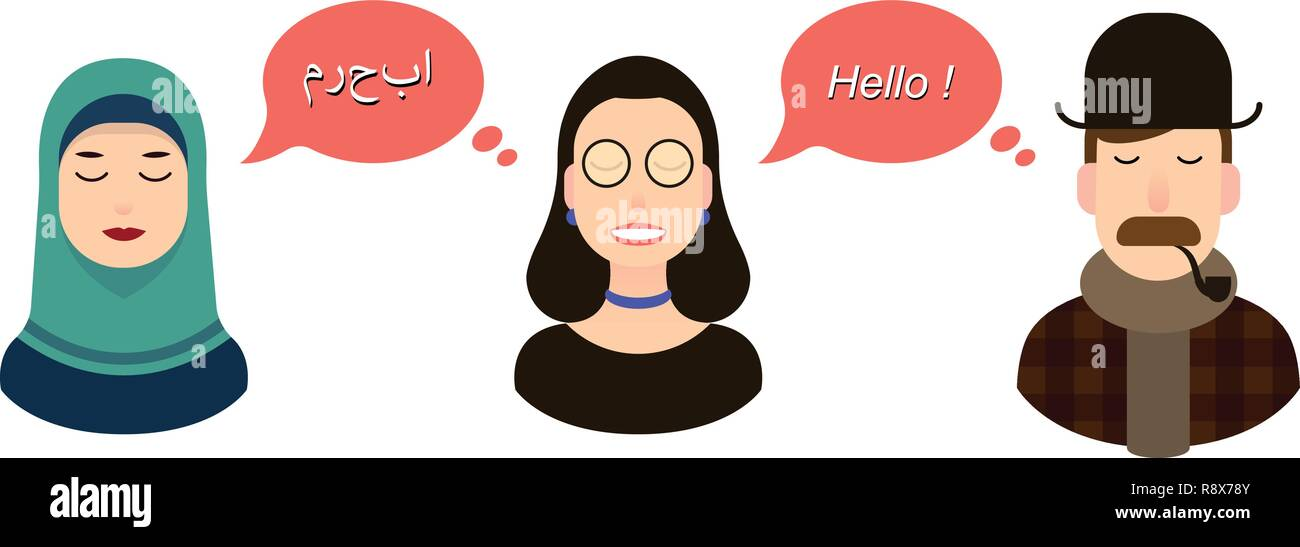 International communication translation concept illustration. tourists or businessmen or politicians from arab speaking country and England communicate through a girl translator and girl in hijab - Stock Vector