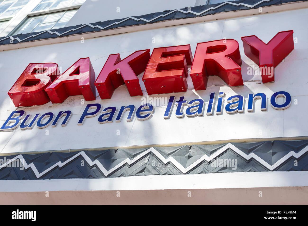 Miami Beach Florida Buon Pane Italiano Bakery sign - Stock Image