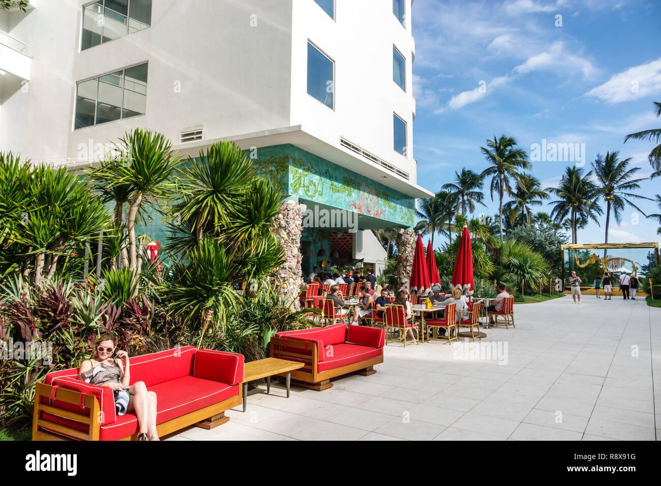 Miami Beach Florida Collins Avenue Faena hotel luxury district Veranda restaurant - Stock Image