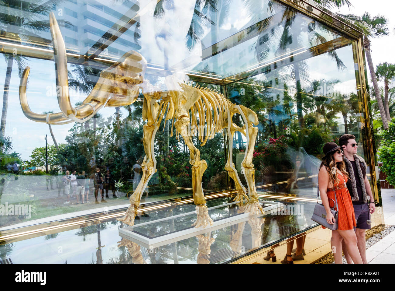 Miami Beach Florida Collins Avenue Faena hotel luxury district Art Basel Weekend Gone but not Forgotten by Damien Hirst golden wooly mammoth sculpture Stock Photo