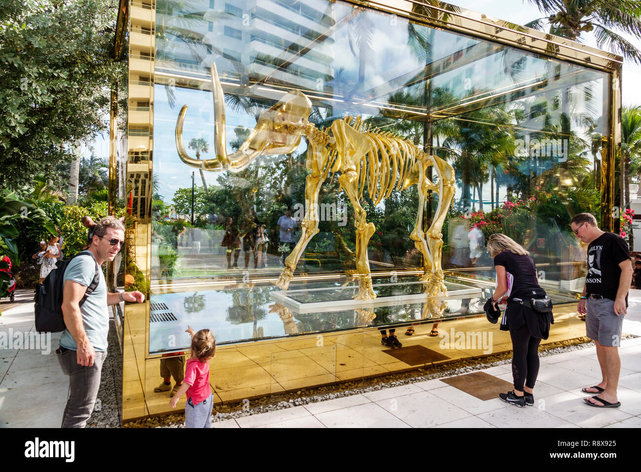Miami Beach Florida Collins Avenue Faena hotel luxury district Art Basel Weekend Gone but not Forgotten by Damien Hirst golden wooly mammoth sculpture - Stock Image