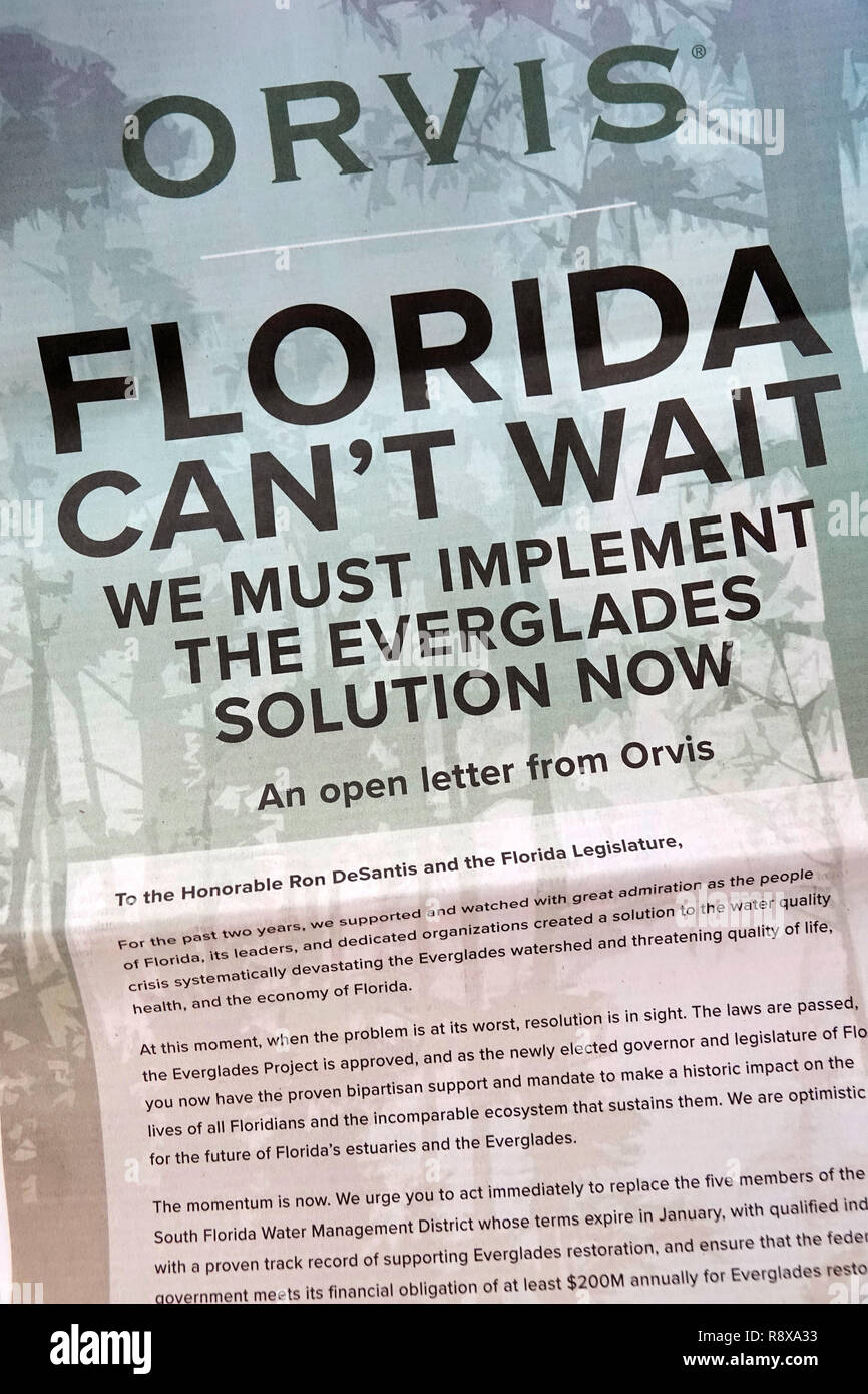 Miami Beach Florida Herald Newspaper ad advertisement Orvis open letter elected official Everglades water quality - Stock Image