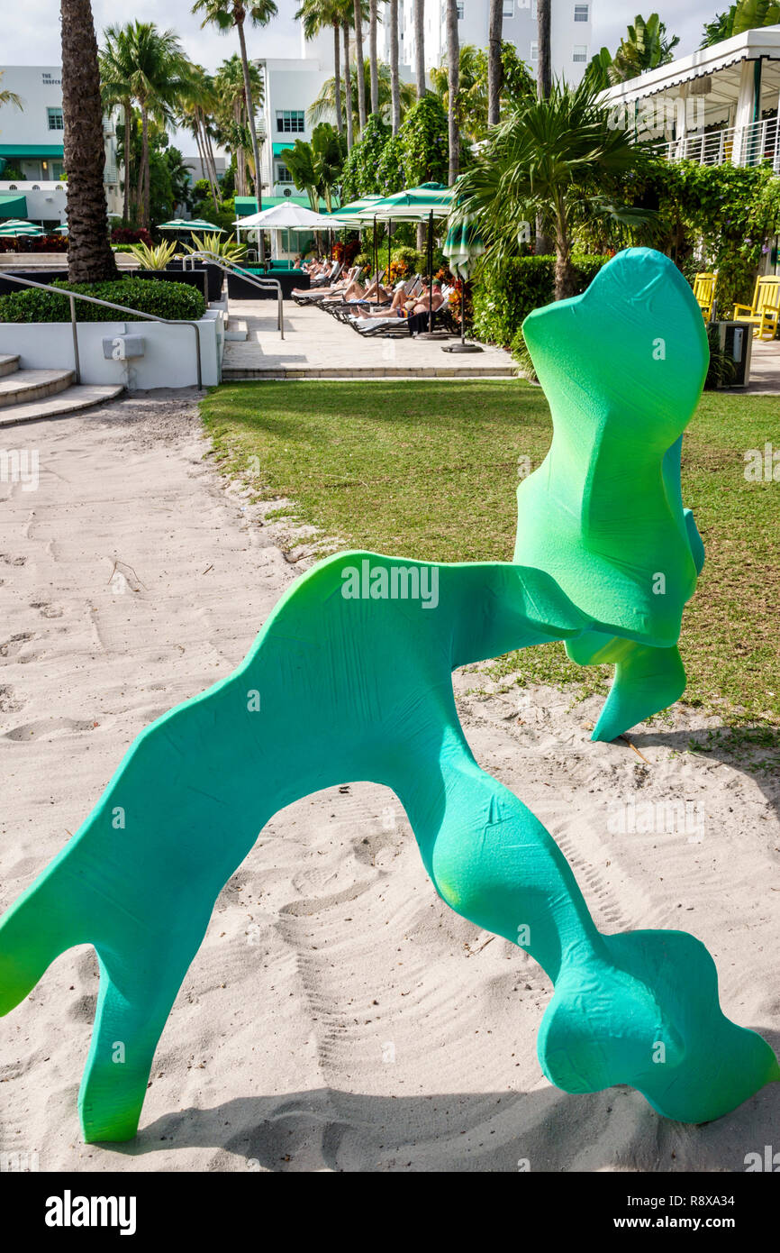 Miami Beach Florida Collins Avenue Art Basel Weekend Artsy installation Follies and Flora by Chris Schank Surfcomber hotel - Stock Image