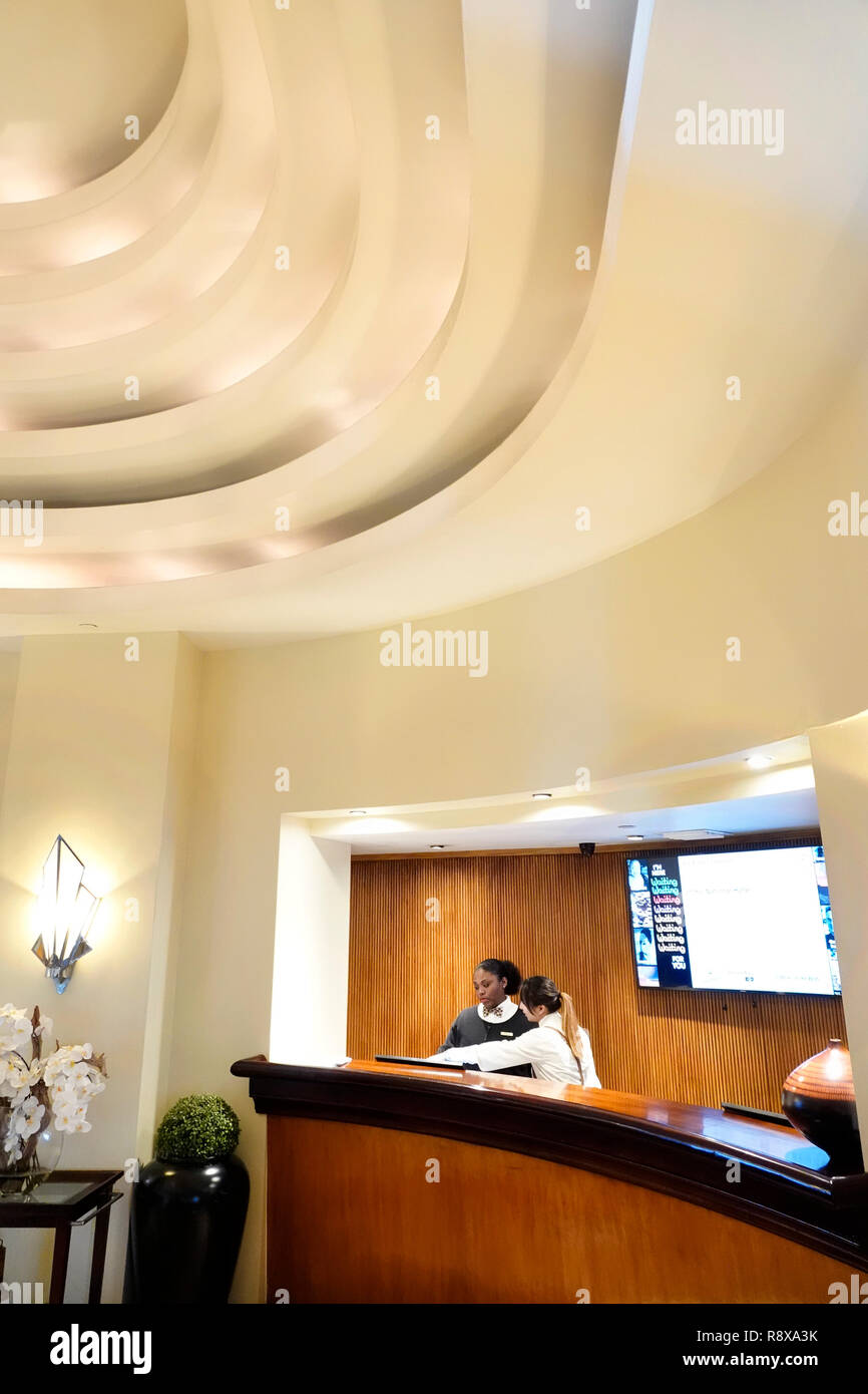 Miami Beach Florida Collins Avenue National hotel lobby front reservations desk - Stock Image