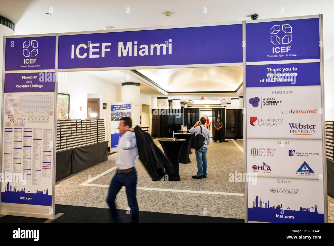 Miami Beach Florida Collins Avenue Loews hotel inside lobby ICEF International Consultants for Education and Fairs - Stock Image