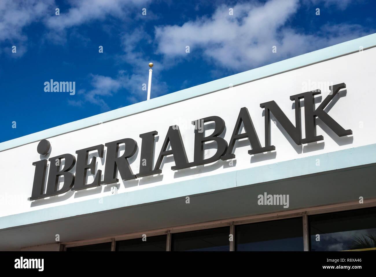 Miami Beach Florida Alton Road Iberia Bank sign - Stock Image