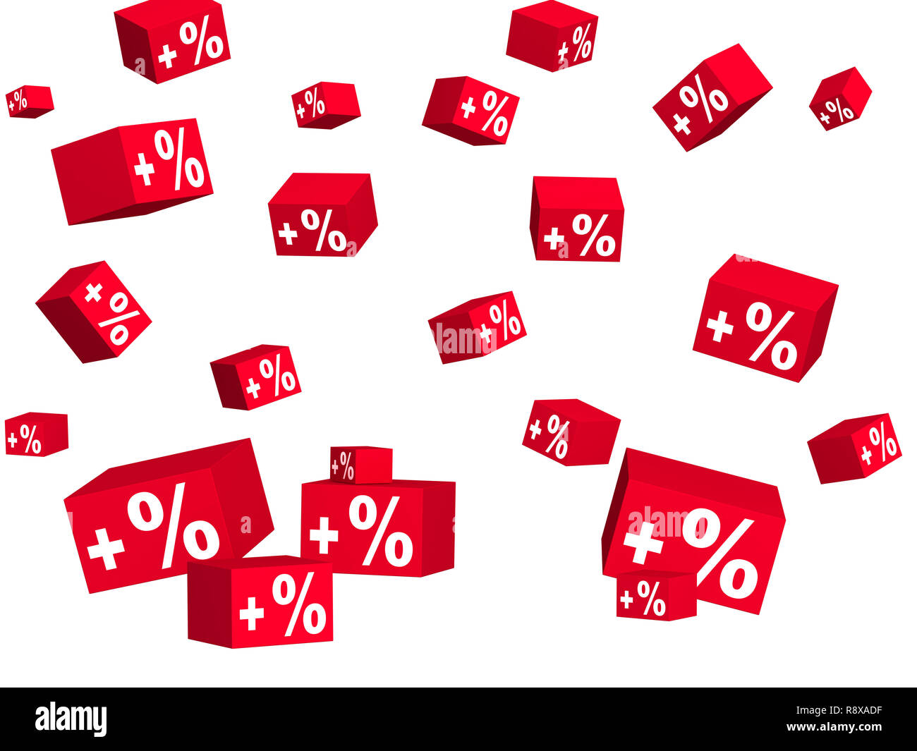 Red boxes with an inscription plus percent. Objects over white - Stock Image