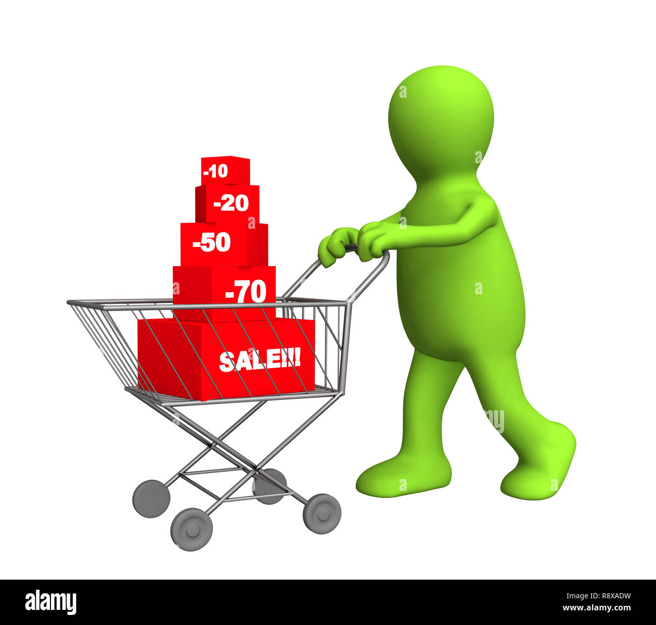 3d person - puppet, bought the goods at a discount. Objects over white - Stock Image