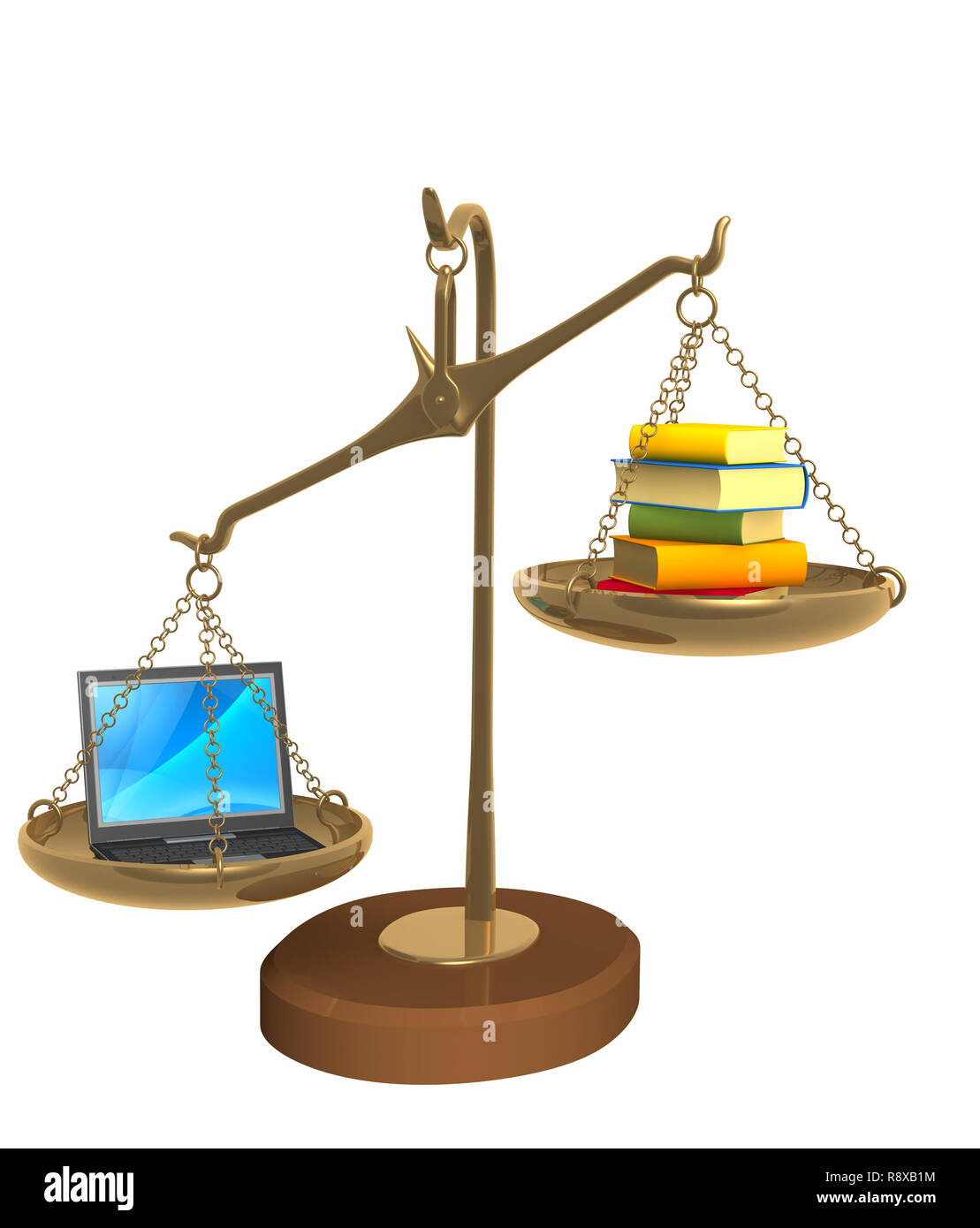 3d books and laptop on bowls scales. Object over white - Stock Image
