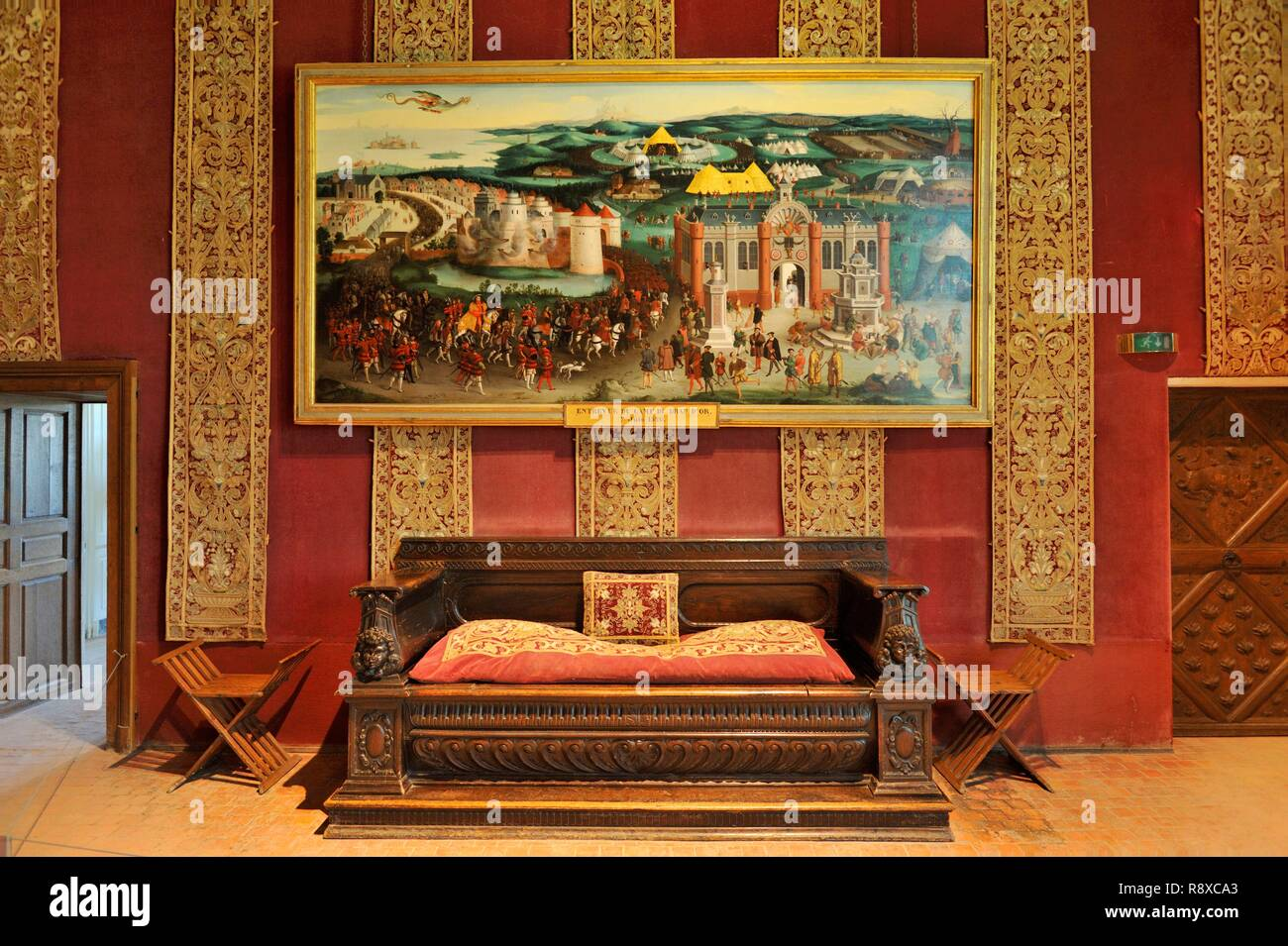 France, Loir et Cher, Valley of the Loire listed as World Heritage by UNESCO, Chambord, the Royal Castle, François 1st bedroom, painting representing the interview of the Drap d'Or camp which took place on June 7, 1520 Stock Photo