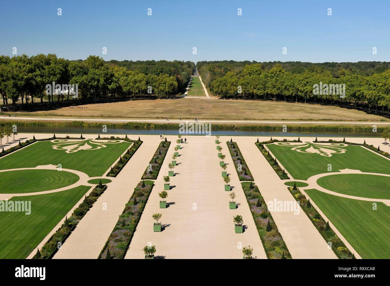 France, Loir et Cher, Valley of the Loire listed as World Heritage by UNESCO, Chambord, the Royal Castle, French gardens Stock Photo
