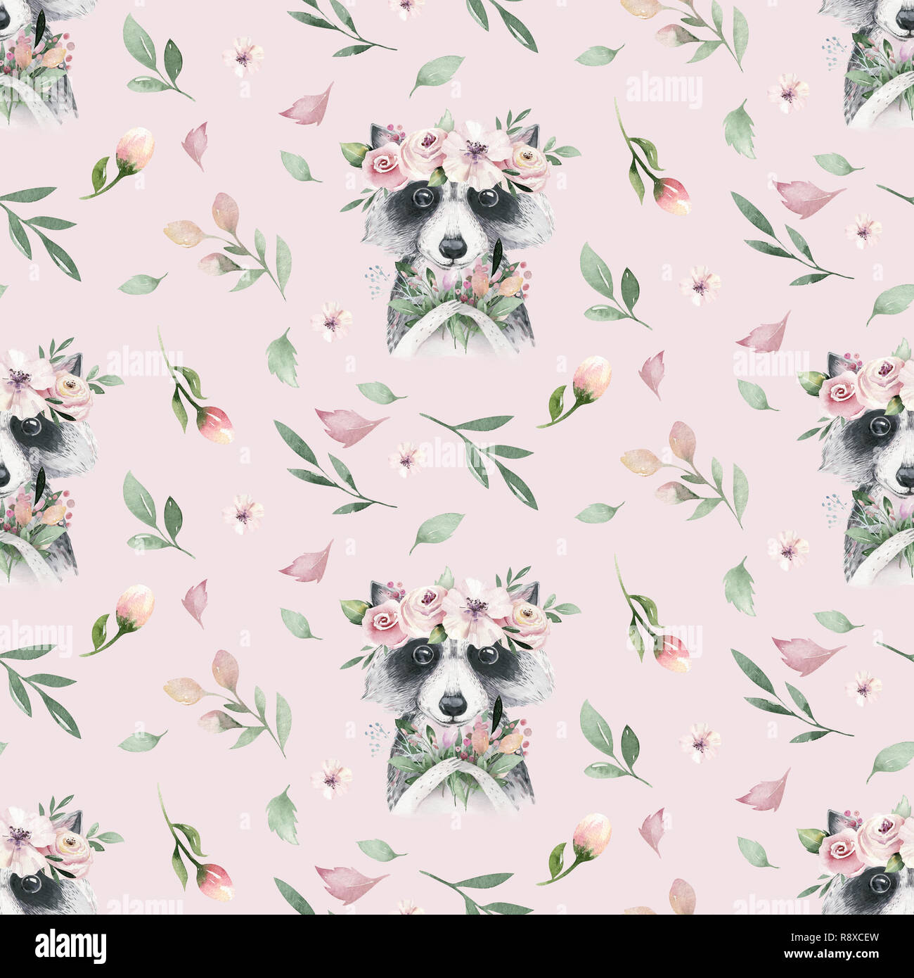 Watercolor Seamless Hand Illustrated Floral Pattern With