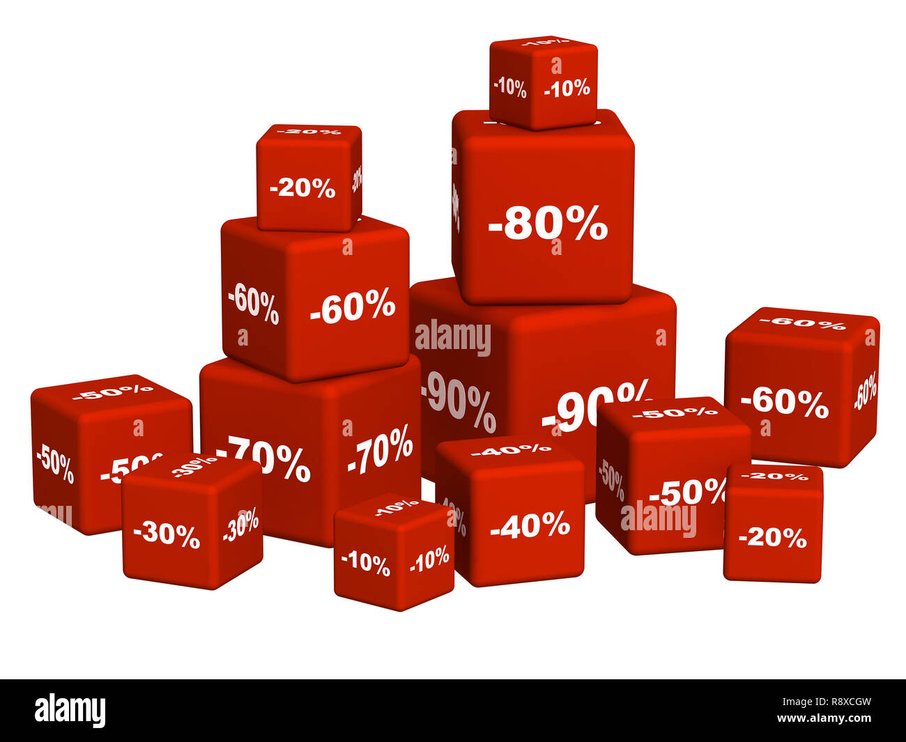 Red boxes with the goods at a discount. Object over white - Stock Image