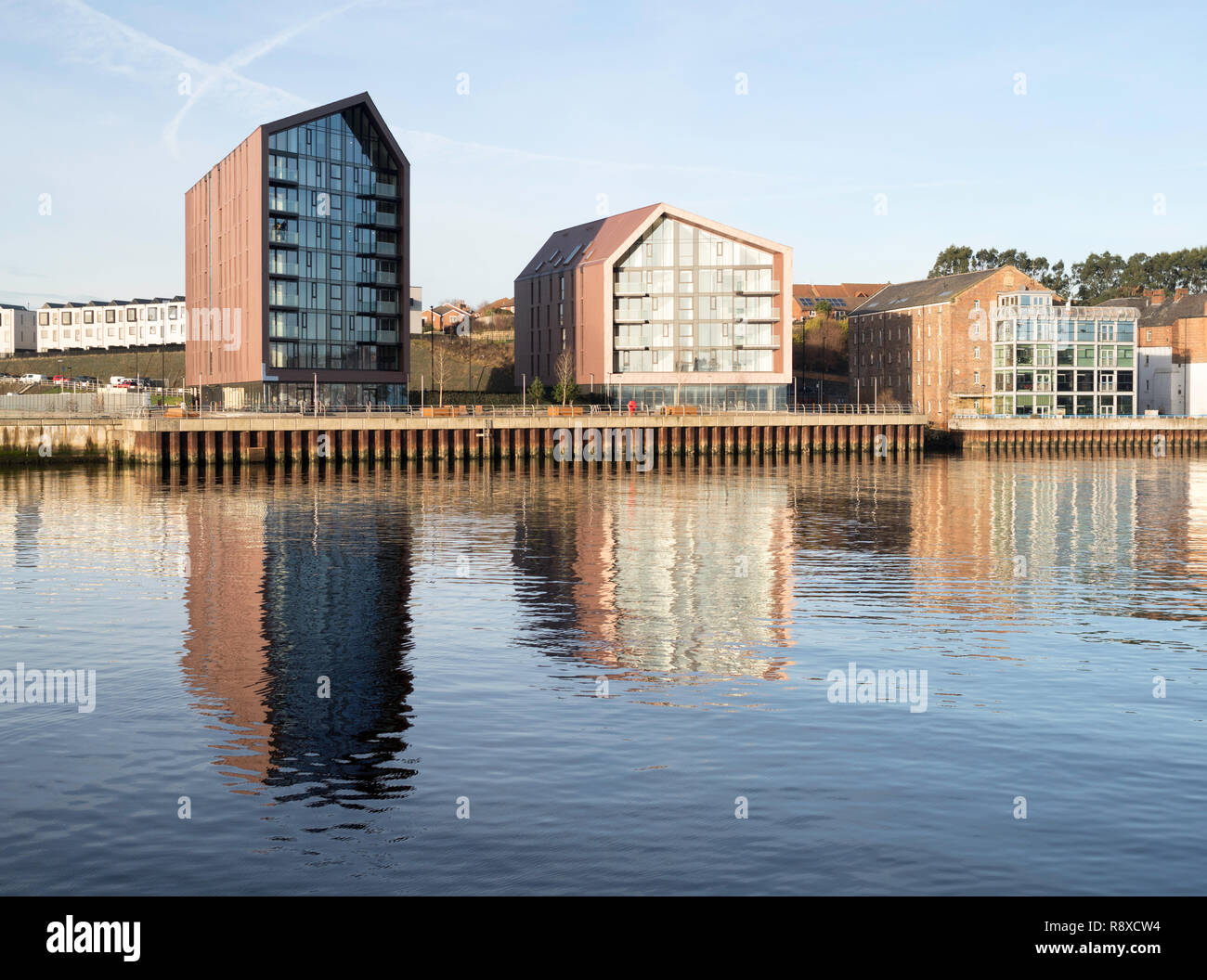 Smokehouses apartments, a residential development on the site of the old Smith's Dock in North Shields, north east England, UK Stock Photo