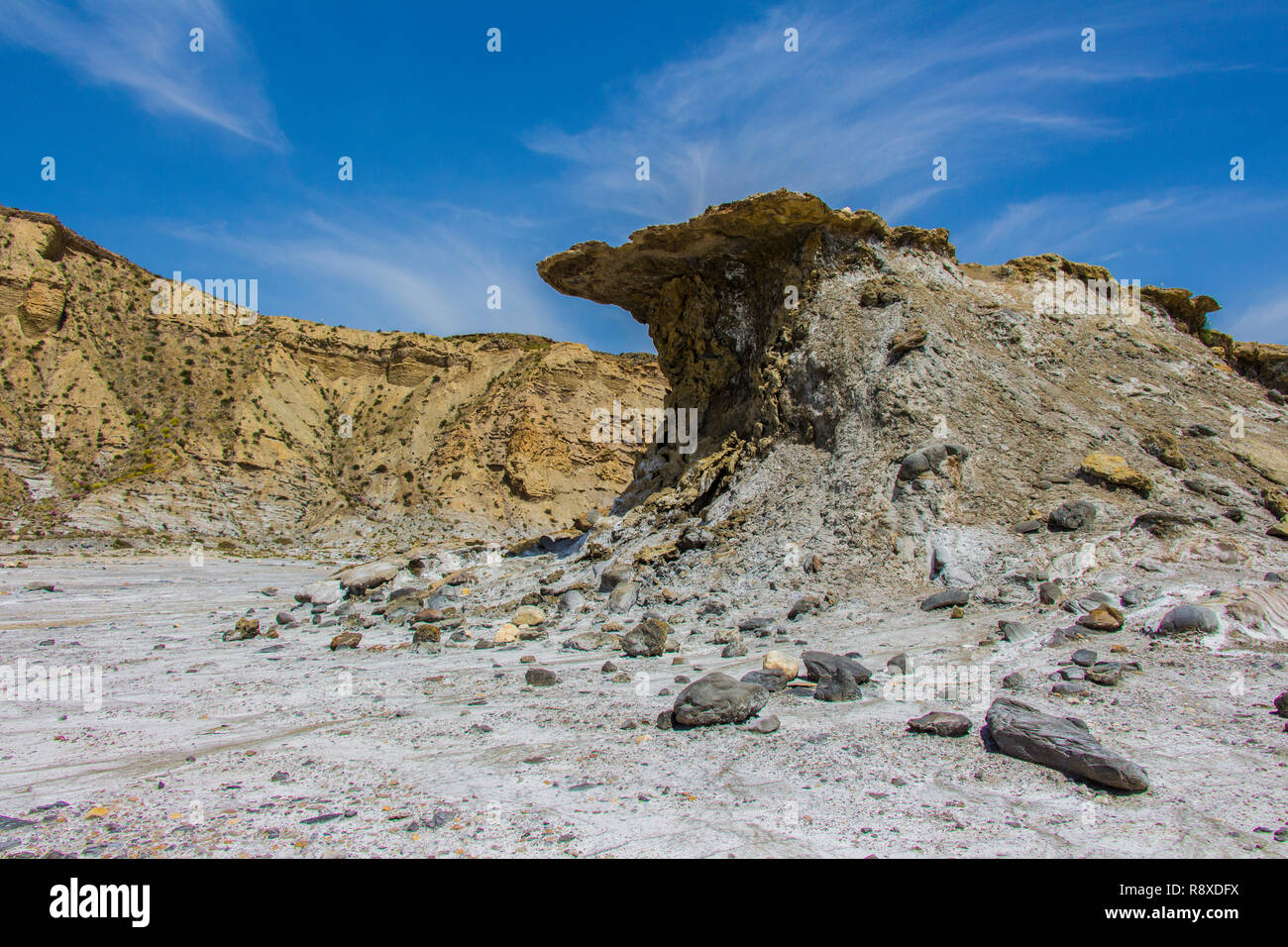 salt pan in desert, mountain in the tavernas desert, rocks in the desert of almeria, region of andalucia, spain - Stock Image