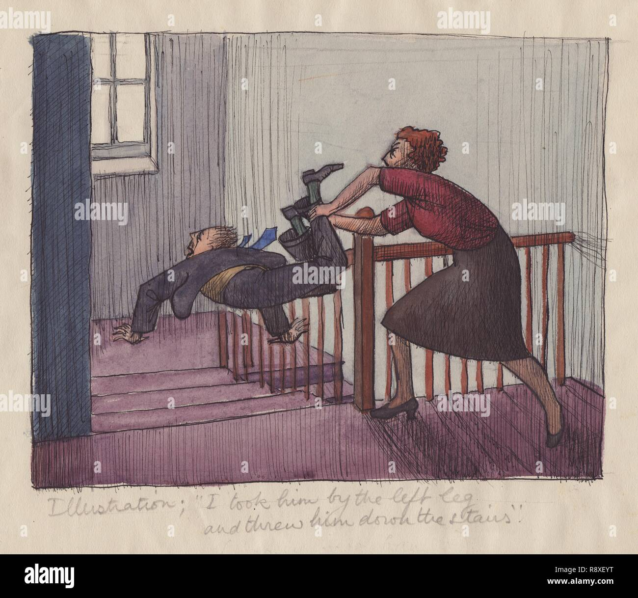 "'I took him by the left leg and threw him down the stairs', 1952. Illustration to children's nursery rhyme ""Goosey, goosey gander"": '...Ther - Stock Image"