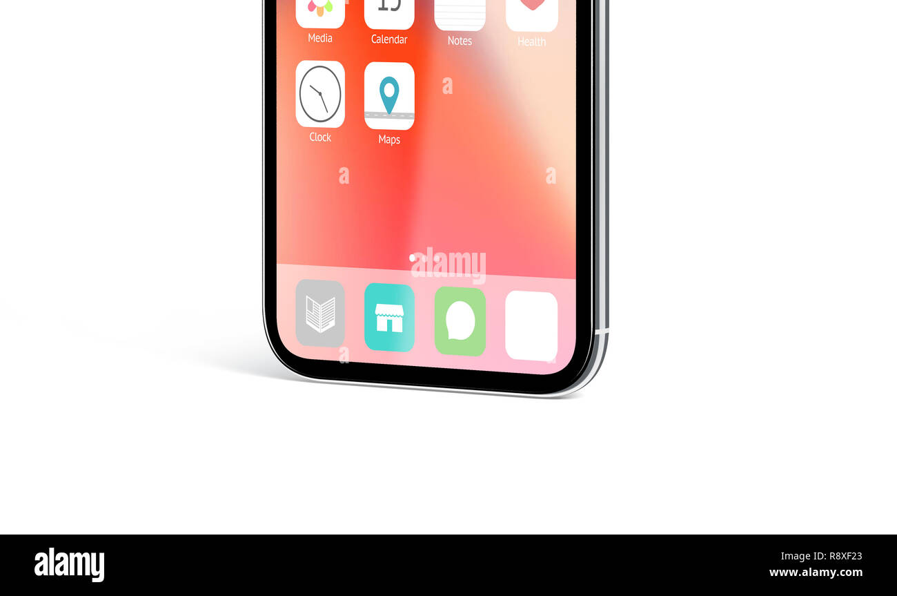 Blank white app icon on infinidock menu phone screen mockup, 3d rendering. Empty annex on telephone monitor mock up. Infiniboard with new ap design template. - Stock Image