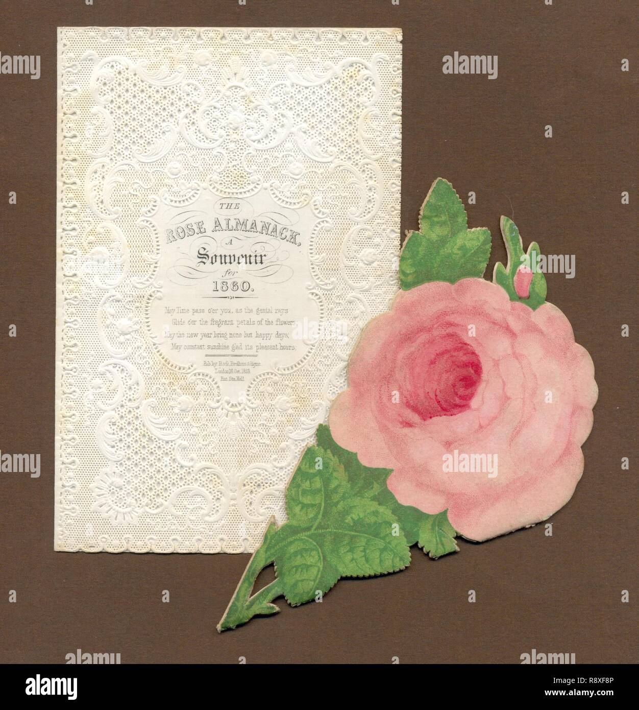 A Souvenir Rose Almanack for 1860, folder and contents - Stock Image