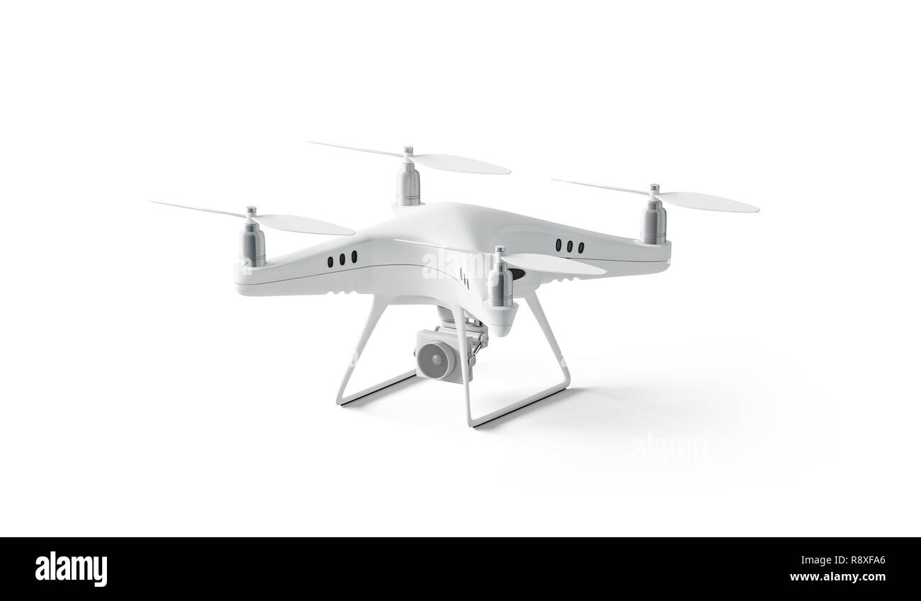 Blank white quadrocopter mock up, stand isolated, side view, 3d rendering. Empty dji helicopter mockup. Technology airscrew for shooting. Wireless spy deisgn template. - Stock Image
