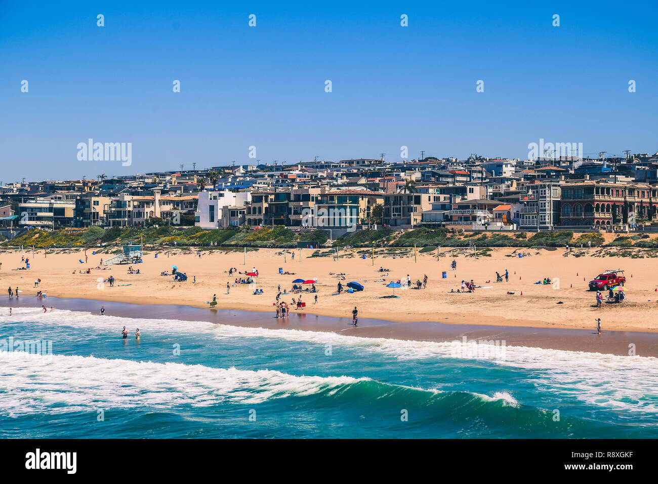View Of Manhattan Beach In Los Angeles California During A Sunny Day Stock Photo Alamy