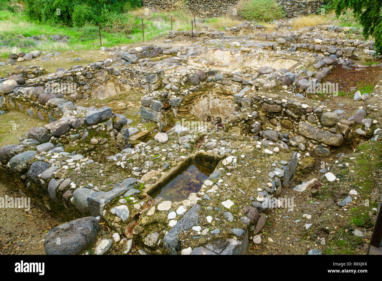 Remains of a Byzantine bathhouse, in Kursi National Park, Golan Heights, Northern Israel - Stock Image