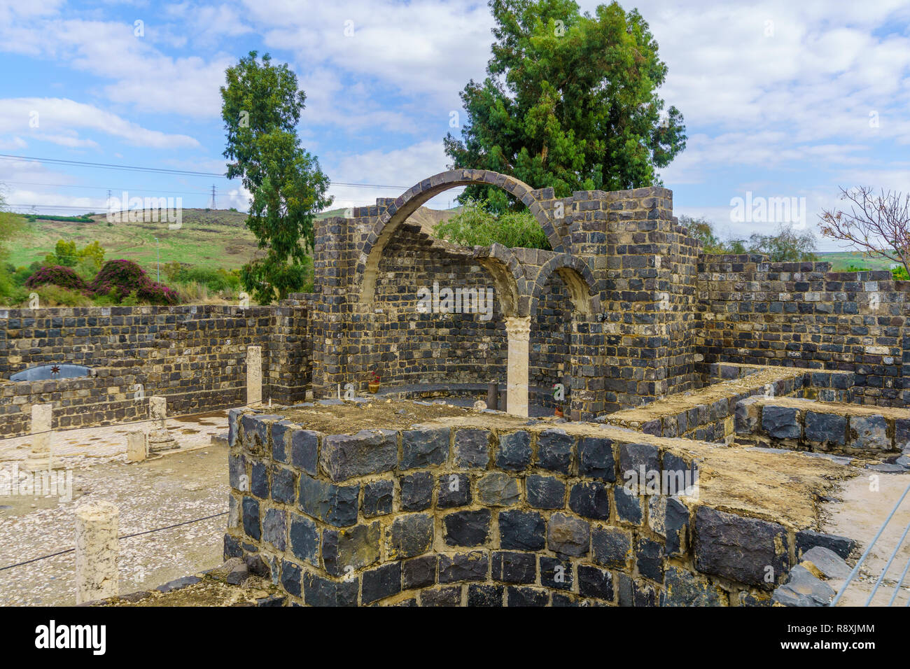 Remains of a Byzantine monastery, in Kursi National Park, Golan Heights, Northern Israel. Identified as Gergesa (Miracle of the Swine) - Stock Image