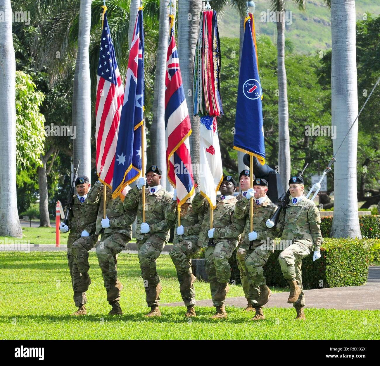 Members of the U S  Army Pacific color guard present the colors of