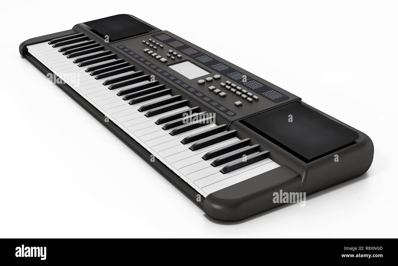 Contemporary generic design music keyboard. 3D illustration. - Stock Image