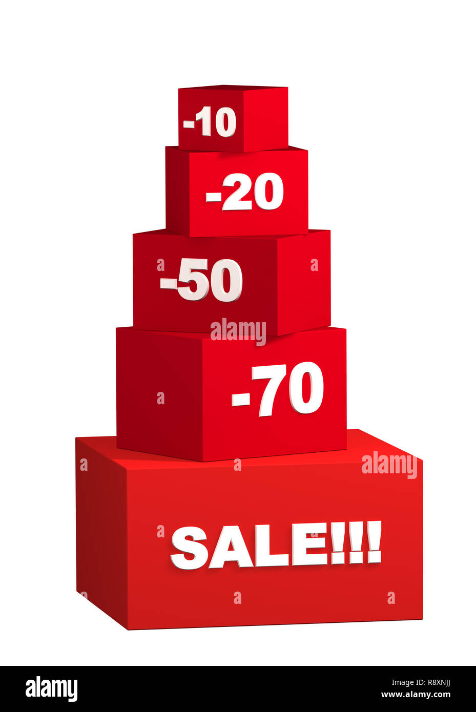 Sale - boxes with the goods for reduced prices. Objects over white - Stock Image