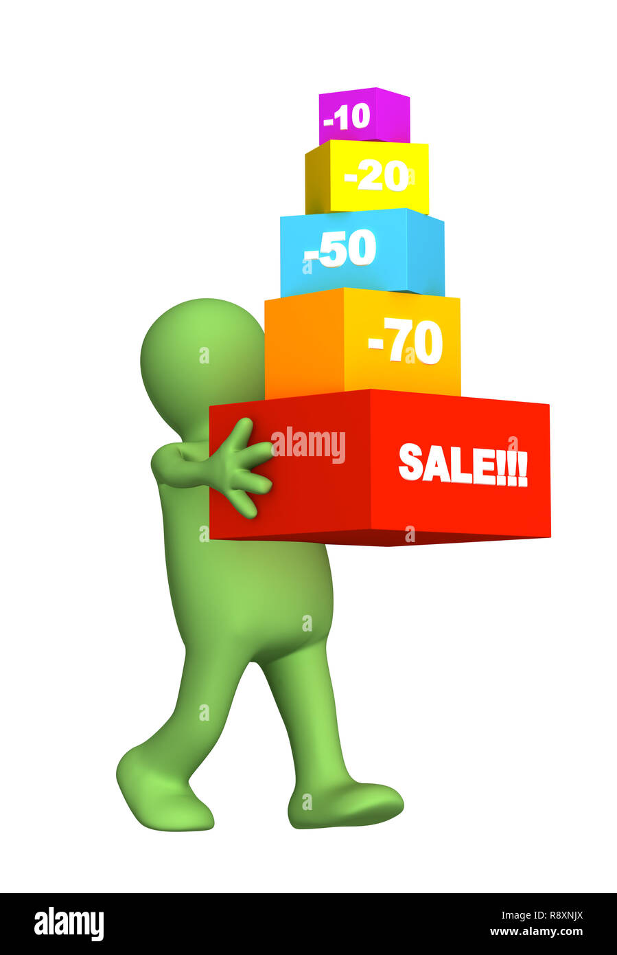 The 3d puppet, bought the goods at a discount. Objects over white - Stock Image