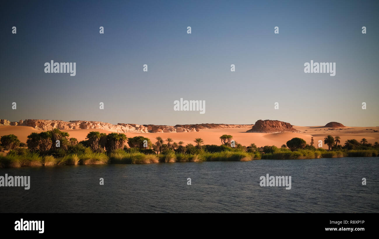 Panoramic view to Boukkou lake group of Ounianga Serir lakes , Ennedi, Chad - Stock Image