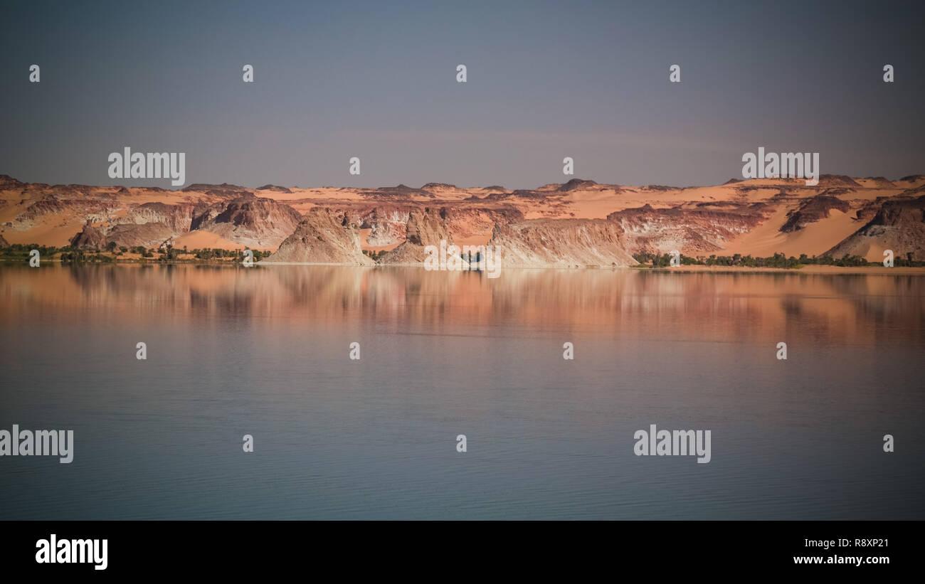 Panoramic view to Teli lake group of Ounianga Serir lakes , Ennedi, Chad - Stock Image