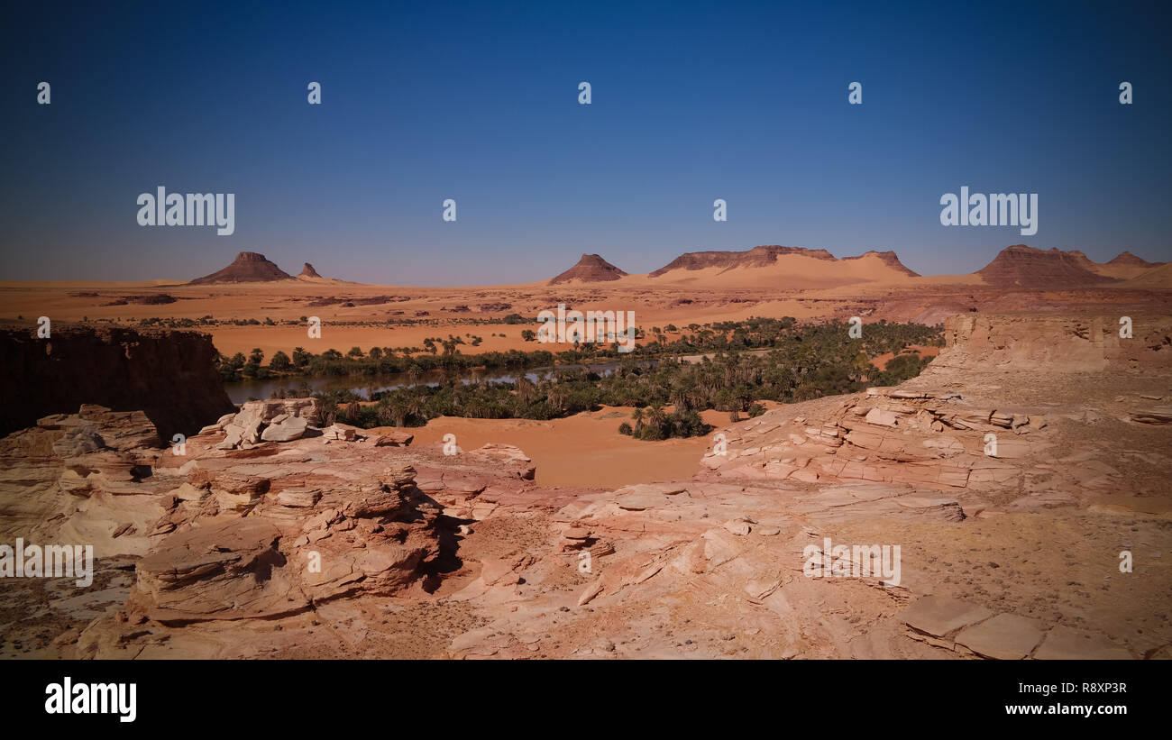 aerial Panoramic view to Teguedei lake , Ennedi, Chad - Stock Image